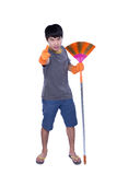 Cleaner with besom Stock Image