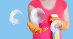 Cleaner and bubbles. Cleaner and bubbles concept design Stock Photos