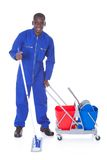 Cleaner cleaning with mop Stock Photography