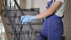 Cleaner cleans the stairs. stock footage