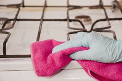 The cleaner cloth cleans the plate - stock photo. The cleaner cloth cleans the plate Royalty Free Stock Photos