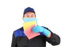Cleaner with colored sponges. Stock Images