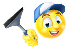 Cleaner Emoji Emoticon with Squeegee Stock Photos