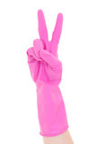 Cleaner hand in pink rubber glove gesturing victory isolated on Royalty Free Stock Photos