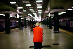 Free Cleaner In The Subway Train Station. Concept Of Service, Worker And Equipment For Cleaner And Health. Royalty Free Stock Photography - 159090057