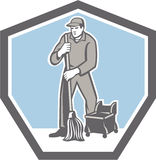 Cleaner Janitor Mopping Floor Retro Shield Royalty Free Stock Image