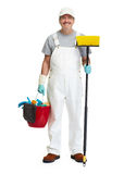 Cleaner man with broom Royalty Free Stock Photos