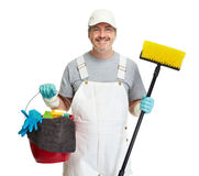 Cleaner man with broom Stock Photography