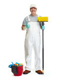 Cleaner man with broom. And bucket isolated on white background Royalty Free Stock Photos