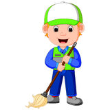 Cleaner man with cleaning equipments Stock Images