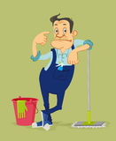 Cleaner with mop Royalty Free Stock Images