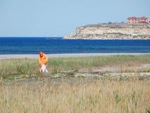 Cleaner na plaży zdjęcia royalty free