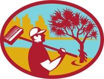 Cleaner Pandanus Tree Coast Oval Retro Royalty Free Stock Photos