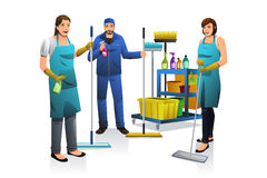 Cleaner People with Janitor Cart Stock Photos