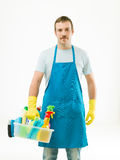Cleaner ready for work Stock Photo