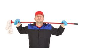 Cleaner with red mop. Royalty Free Stock Photos