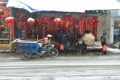 The cleaner in the snow. In china,we have spring festival,it is the most significant festival.so people will be very busy preparing the things they need.You can stock photos