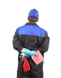 Cleaner with sponges back side. Royalty Free Stock Images