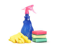 Cleaner, sponges and rubber gloves Stock Images