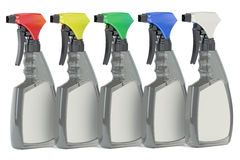 Cleaner spray plastic bottles with blank lable Stock Photo