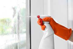 Cleaner washing window glass with detergent indoors. Closeup Stock Photography