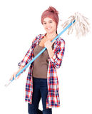 Cleaner woman with mop Stock Photography