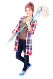 Cleaner woman with mop Royalty Free Stock Photography