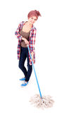 Cleaner woman with mop Stock Image