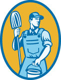 Cleaner Worker With Mop And Pail Stock Photo