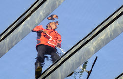 Cleaner working in the skylight Stock Photos