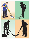 Cleaners. People -cleaners, professionals. Respect the work of cleaners Royalty Free Stock Photography