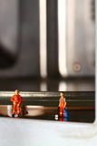 Cleaners cleaning microwave B Royalty Free Stock Photography