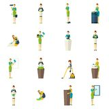 Cleaners Color Flat Icons Set Stock Images