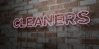 CLEANERS - Glowing Neon Sign on stonework wall - 3D rendered royalty free stock illustration. Can be used for online banner ads and direct mailers stock illustration