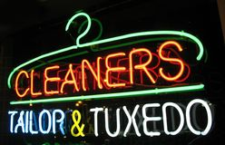 Cleaners Neon Sign Stock Photo