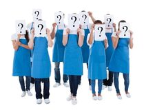 Cleaners showing question sign Stock Photography