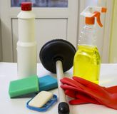 Cleaners and suction Cup to clean up debris in the pipes royalty-vrije stock foto