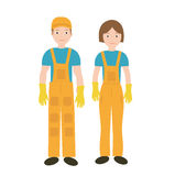 Cleaners in uniform woman and man icon, flat style. Workers isolated on white background. Vector illustration. Royalty Free Stock Image