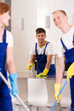 Cleaners during work stock image