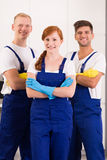 Cleaners in work wear royalty free stock photography