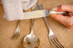 Cleanign silverware Zdjęcia Royalty Free