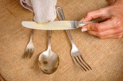 Cleanign silverware Zdjęcie Stock