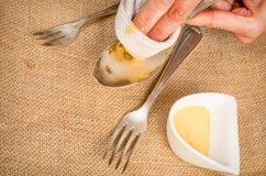 Cleanign silverware Zdjęcie Royalty Free