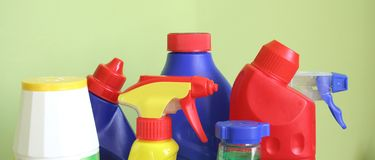 Cleaning. Products, clean your house Royalty Free Stock Photos