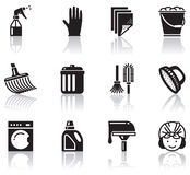 Cleaning. Set of minimalistic cleaning icons Royalty Free Stock Images