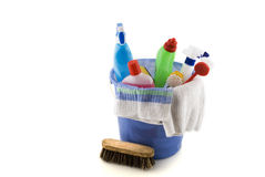 Cleaning. With bucket, brushes and -liquids royalty free stock images