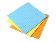 Cleaning. Close up of kitchen sponge cloth  for do the dishes on white background with clipping path Royalty Free Stock Image