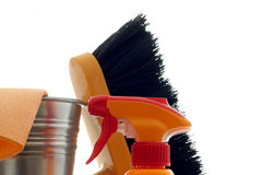 Cleaning abstract. Cleaning kit for cleaner on white background Stock Images