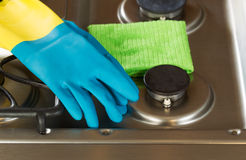 Cleaning Accessories on top of Stove Top Range Royalty Free Stock Images