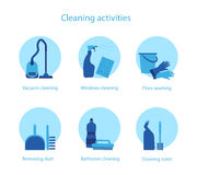 Cleaning activities vector set. Vector set of illustrations for cleaning service and household activities Royalty Free Stock Photography